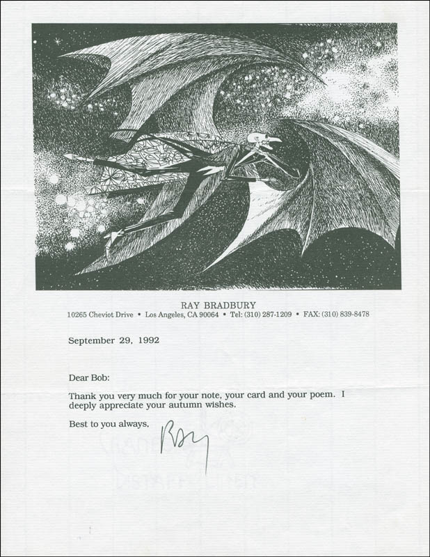Image 1 for Ray Bradbury - Typed Letter Signed 09/29/1992 - HFSID 297351