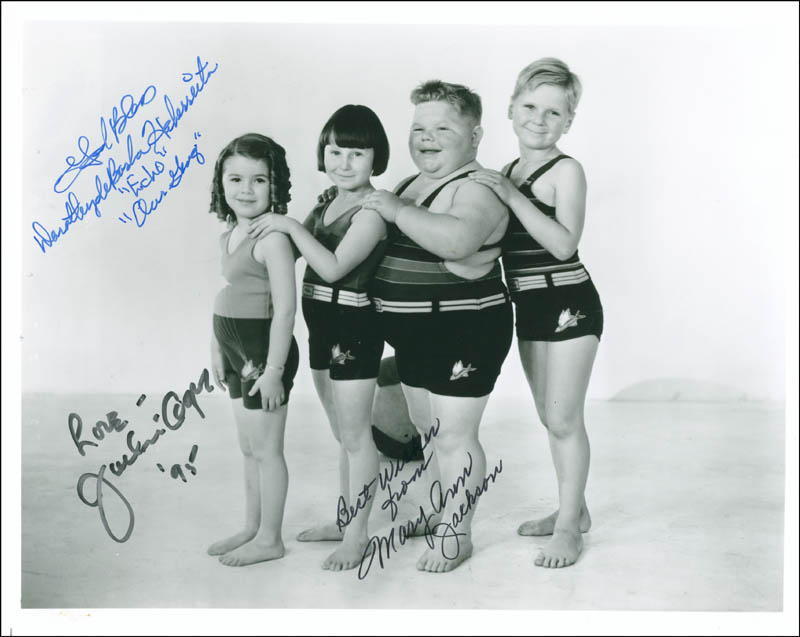 Image 1 for Our Gang Movie Cast - Autographed Signed Photograph 1995 co-signed by: Jackie Cooper, Mary Ann Jackson, Dorothy Deborba - HFSID 297485