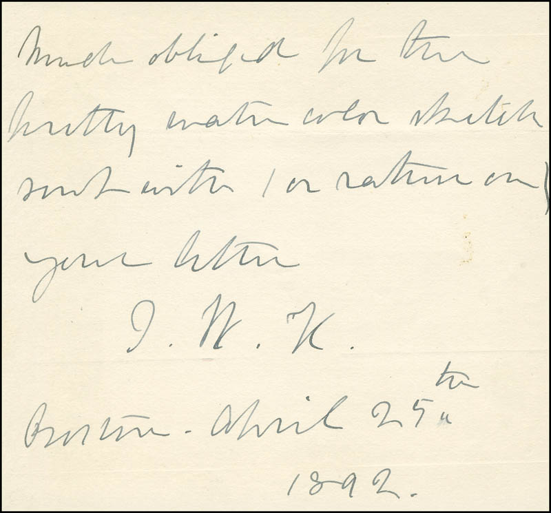 Image 1 for Julia Ward Howe - Autograph Note Signed 04/25/1892 - HFSID 297548