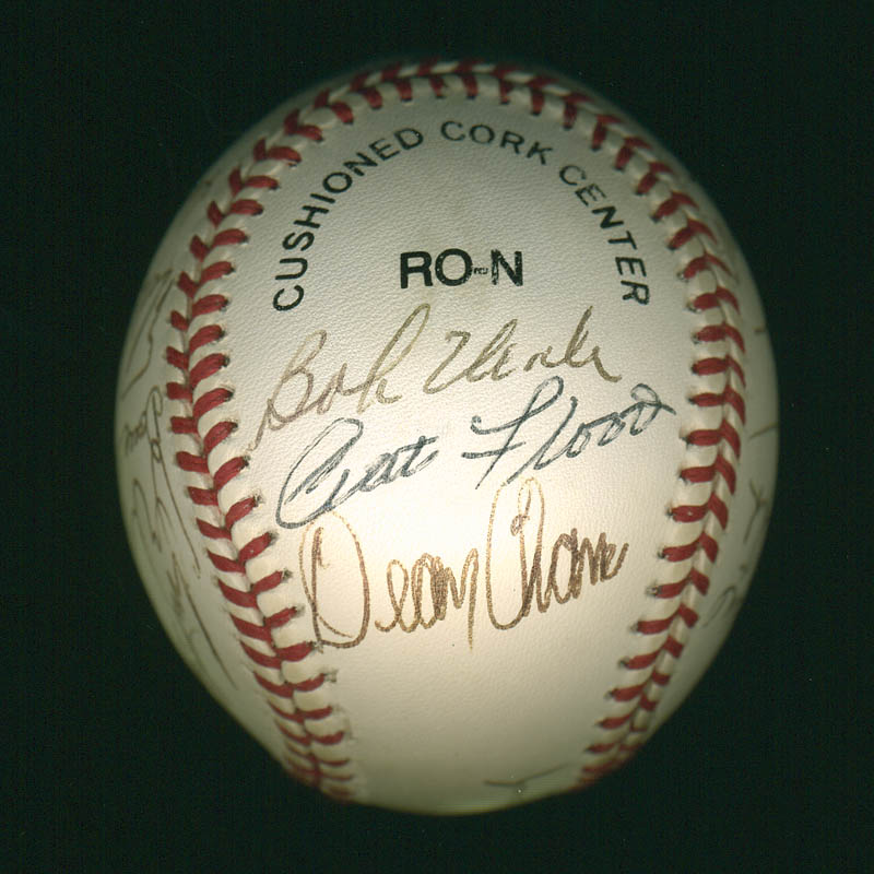 Image 1 for Curt Flood - Autographed Signed Baseball with co-signers - HFSID 297644