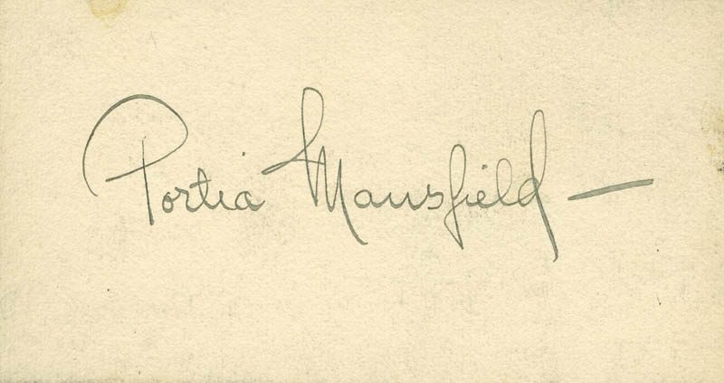 Image 1 for Portia Mansfield - Autograph - HFSID 297694