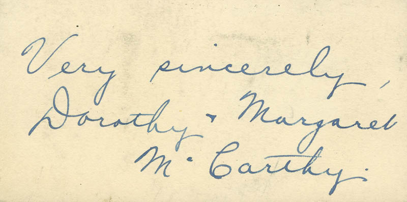 Image 1 for Dorothy Mccarthy - Autograph Sentiment Signed - HFSID 297714