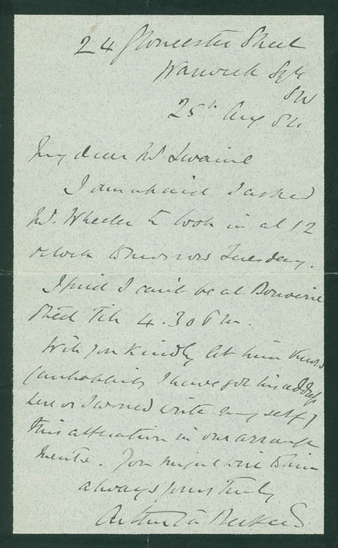 Image 1 for Arthur W. A. Beckett - Autograph Letter Signed 08/25/1884 - HFSID 297844