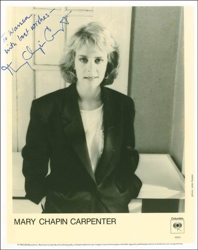 Image 1 for Mary Chapin Carpenter - Autographed Inscribed Photograph - HFSID 298131