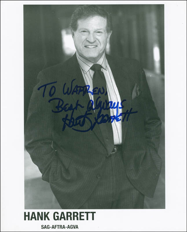 Image 1 for Hank Garrett - Autographed Inscribed Photograph - HFSID 298219