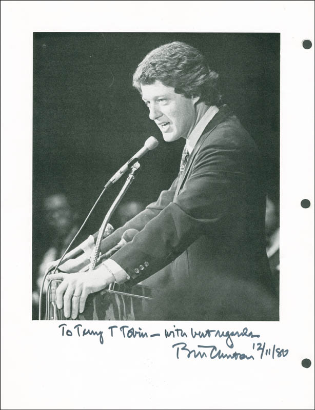 Image 1 for President William J. 'Bill' Clinton - Autographed Inscribed Photograph 12/11/1980 - HFSID 298248