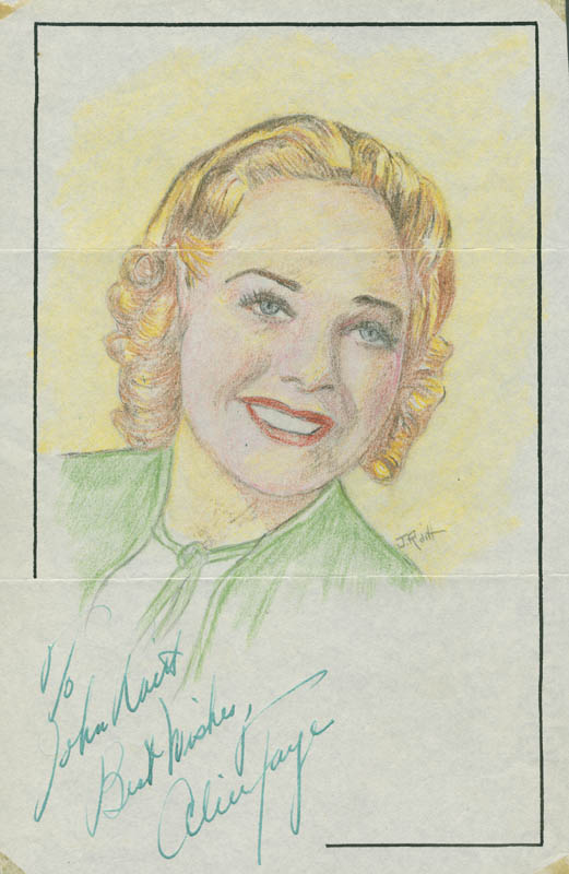 Image 1 for John Raitt - Inscribed Original Art Signed co-signed by: Alice Faye - HFSID 298410