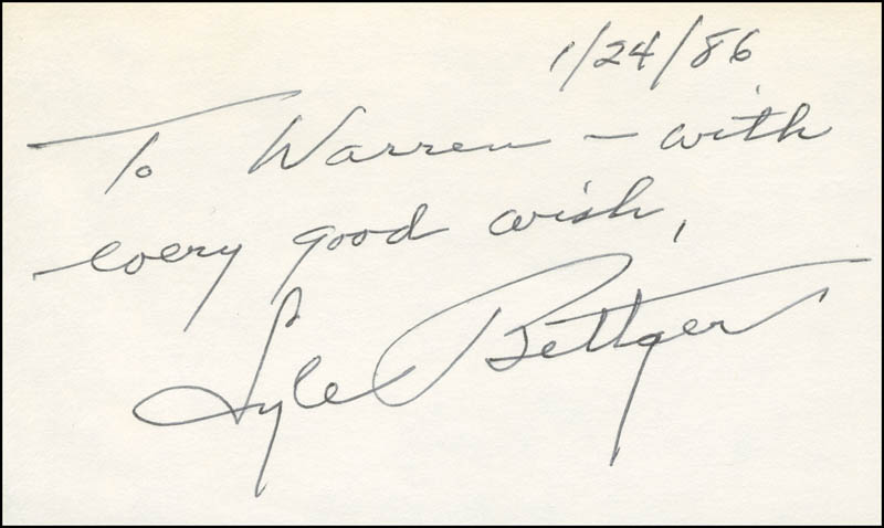 Image 1 for Lyle Bettger - Autograph Note Signed 01/24/1986 - HFSID 298575