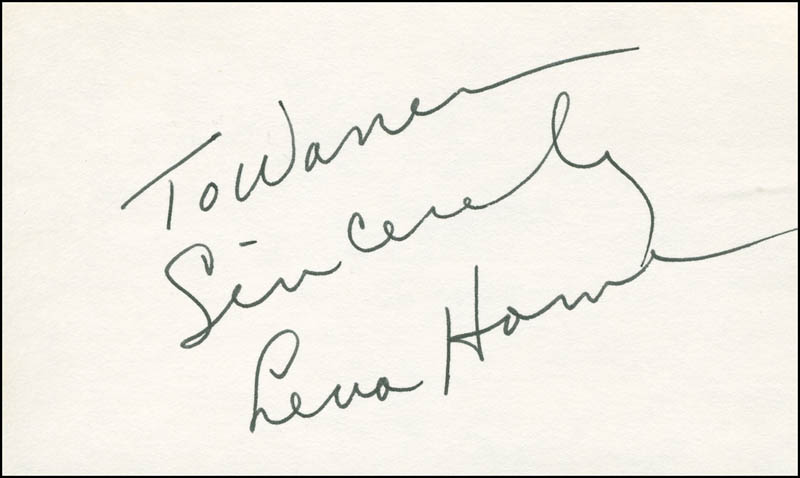 Image 1 for Lena Horne - Autograph Note Signed - HFSID 298585
