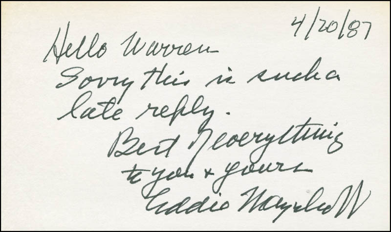 Image 1 for Eddie Mayehoff - Autograph Note Signed 04/20/1987 - HFSID 298592