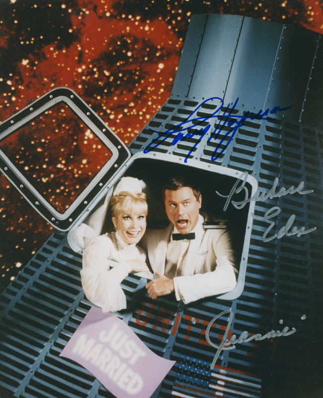 Image 1 for I Dream Of Jeannie TV Cast - Autographed Signed Photograph co-signed by: Barbara Eden, Larry Hagman - HFSID 298625
