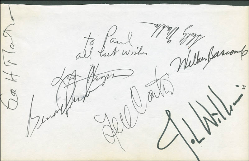 Image 1 for John Williams - Autograph co-signed by: Cubby O'Brien, Nell Carter, Wilbur Bascomb, Bernard Purdie - HFSID 298626