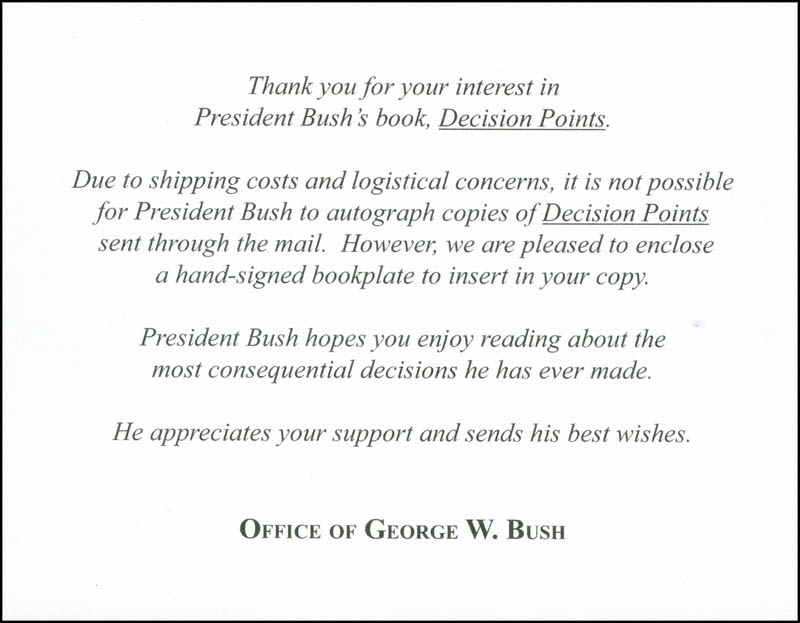 Image 4 for President George W. Bush - Book Plate Signed - HFSID 298713