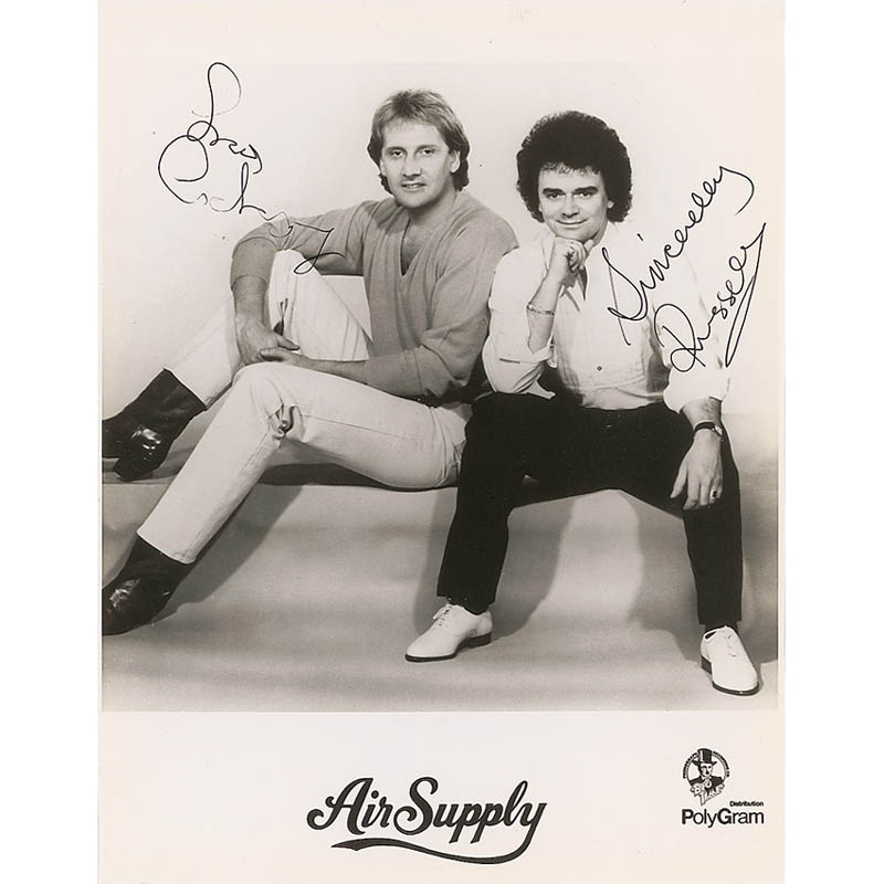 Image 1 for Air Supply - Autographed Signed Photograph co-signed by: Air Supply (Russell Hitchock), Air Supply (Graham Russell) - HFSID 298720