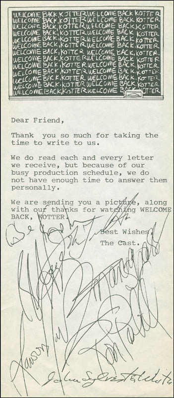 Image 1 for Welcome Back, Kotter TV Cast - Typed Letter Signed Circa 1977 with co-signers - HFSID 298880
