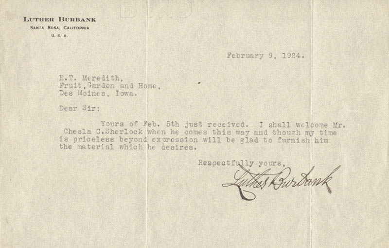 Image 1 for Luther Burbank - Typed Letter Signed 02/09/1924 - HFSID 29890