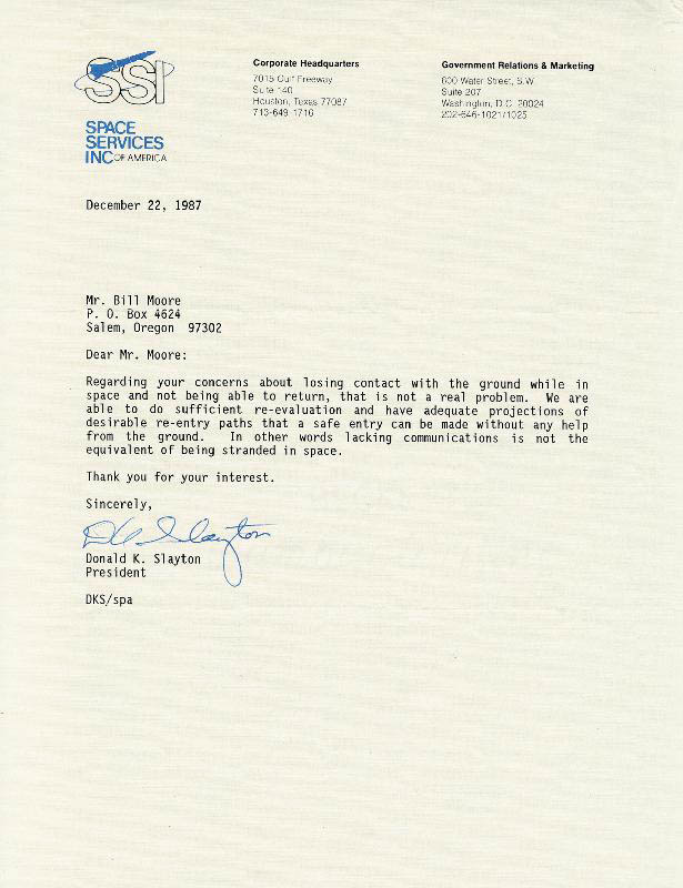Image 1 for Major Donald 'Deke' Slayton - Typed Letter Signed 12/22/1987 - HFSID 29894