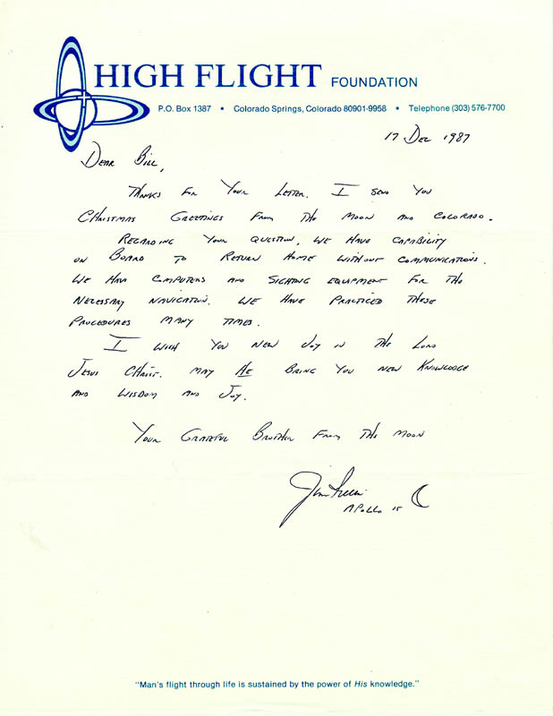 Image 1 for Colonel James B. 'Jim' Irwin - Autograph Letter Signed 12/17/1987 - HFSID 29895