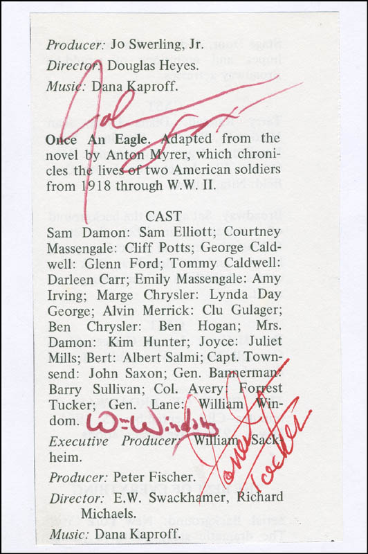 Image 1 for Once An Eagle Movie Cast - Book Page Signed co-signed by: John Saxon, Forrest Tucker, William Windom - HFSID 298990