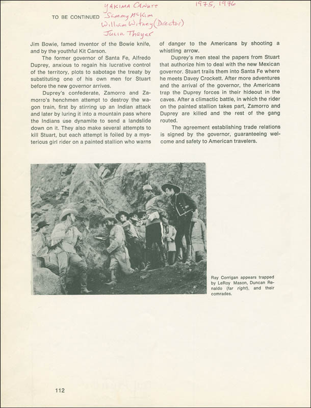 Image 3 for The Painted Stallion Movie Cast - Book Page Signed co-signed by: Jean Carmen, Yakima Canutt, William Witney, Sammy Mckim - HFSID 299003