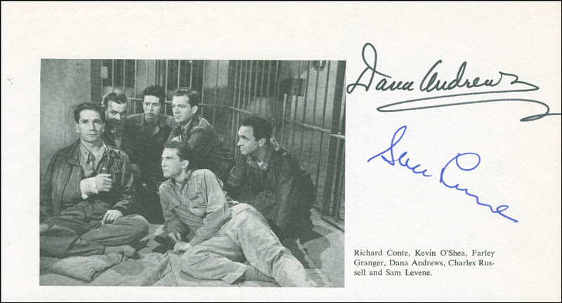 Image 1 for The Purple Heart Movie Cast - Program Page Clipping Signed co-signed by: Sam Levene, Dana Andrews - HFSID 299005