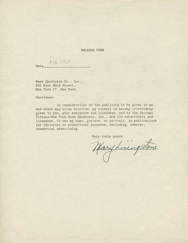 Image 1 for Mary (Mrs. Jack Benny) Livingstone - Document Signed 2/1950 - HFSID 29908