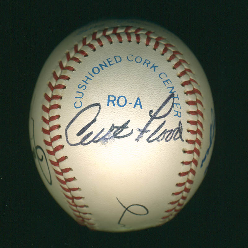 Image 1 for Curt Flood - Autographed Signed Baseball co-signed by: Willie 'Stretch' Mccovey, Ernie 'Mr. Cub' Banks, Rollie Fingers, Joe Dimaggio - HFSID 299123