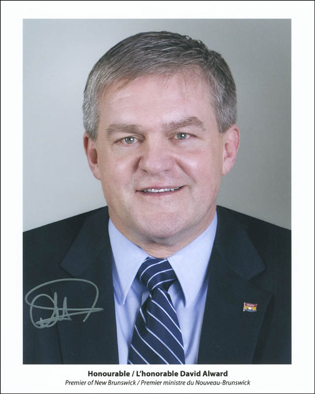 Image 1 for Premier David Alward (New Brunswick, Canada) - Autographed Signed Photograph - HFSID 299169