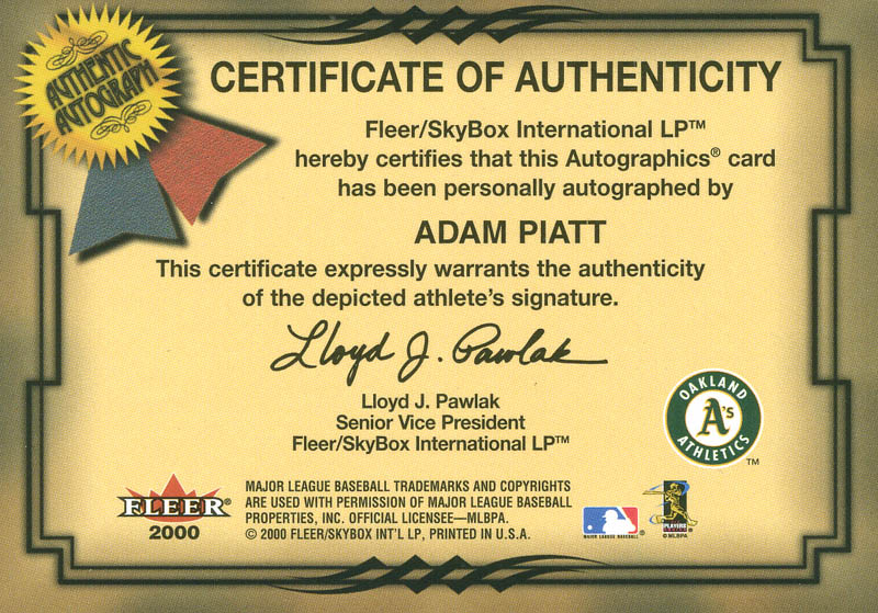 Image 3 for Adam Piatt - Trading/Sports Card Signed - HFSID 299210