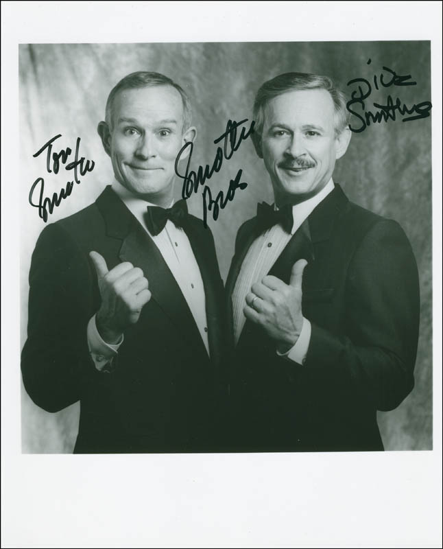 Image 1 for The Smothers Brothers - Autographed Inscribed Photograph co-signed by: Smothers Brothers (Dick Smothers), Smothers Brothers (Tom Smothers) - HFSID 299268
