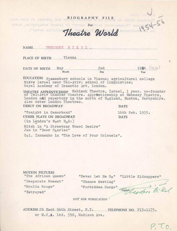 Image 1 for Theodore Bikel - Biography Signed Circa 1955 - HFSID 299355