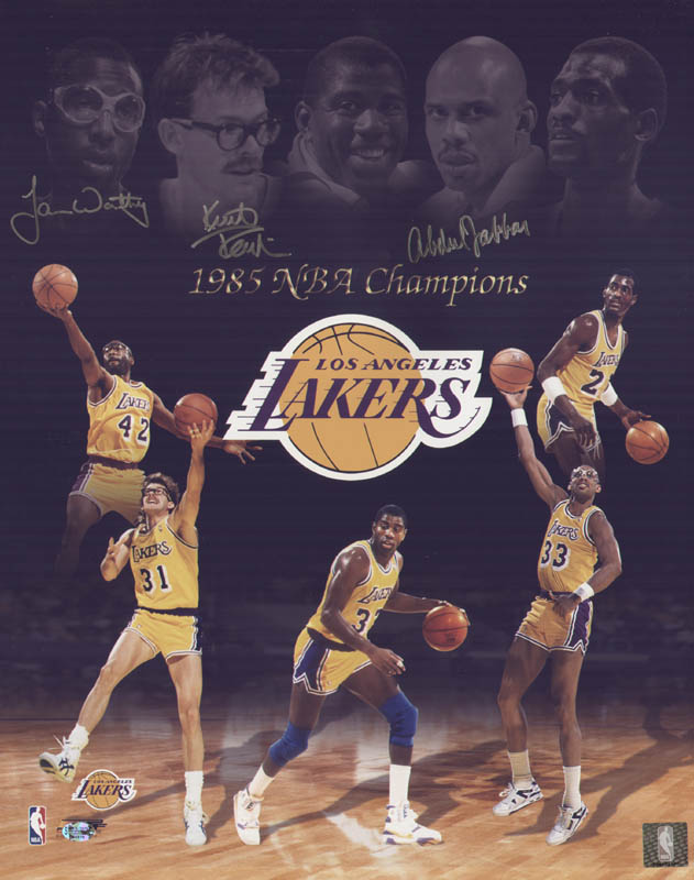 Image 1 for The Los Angeles Lakers - Autographed Signed Photograph co-signed by: James A. Worthy, Kurt Rambis, Kareem Abdul-jabbar - HFSID 299538