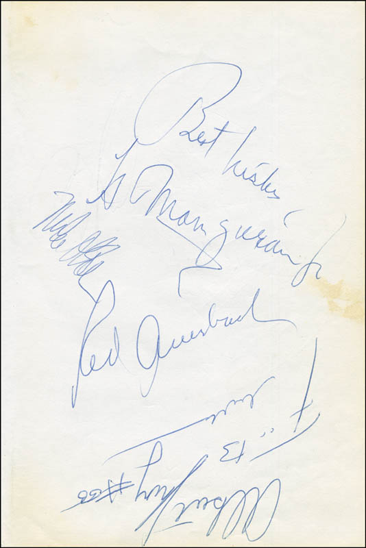 Image 1 for Red (Arnold Jacob) Auerbach - Autograph co-signed by: Buck Williams, Len Elmore, Eddie Phillips, Mike O'Koren, Albert King - HFSID 299859