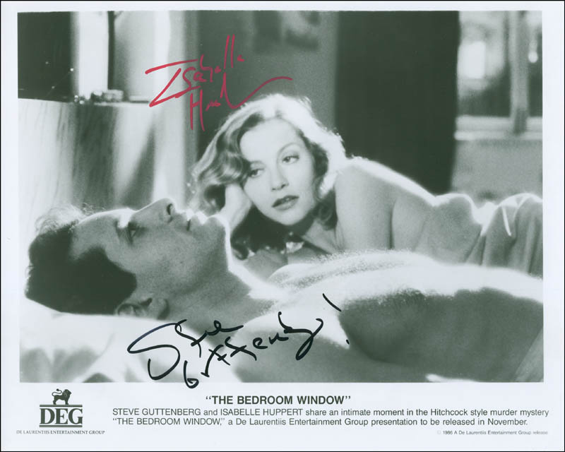 THE BEDROOM WINDOW MOVIE CAST   PHOTOGRAPH SIGNED CO SIGNED BY: STEVE  GUTTENBERG, ISABELLE HUPPERT   DOCUMENT 299874