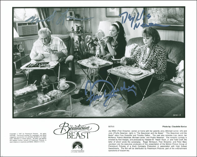 Image 1 for The Beautician And The Beast Movie Cast - Autographed Signed Photograph co-signed by: Phyllis Newman, Michael Lerner, Fran Drescher - HFSID 299886