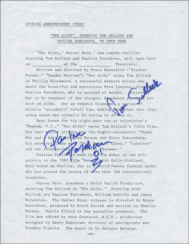 Image 1 for Her Alibi Movie Cast - Document Signed co-signed by: Tom Selleck, Paulina Porizkova - HFSID 299889