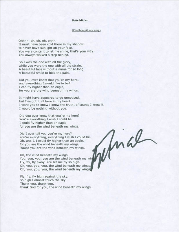 Image 1 for Bette Midler - Typed Lyric(s) Signed - HFSID 299893