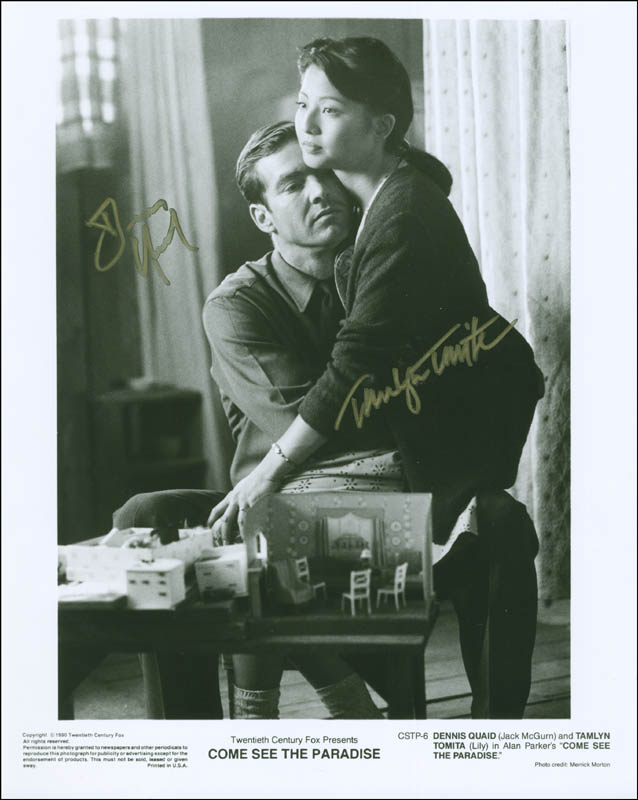 Image 1 for Come See The Paradise Movie Cast - Printed Photograph Signed In Ink co-signed by: Dennis Quaid, Tamlyn Tomita - HFSID 299906
