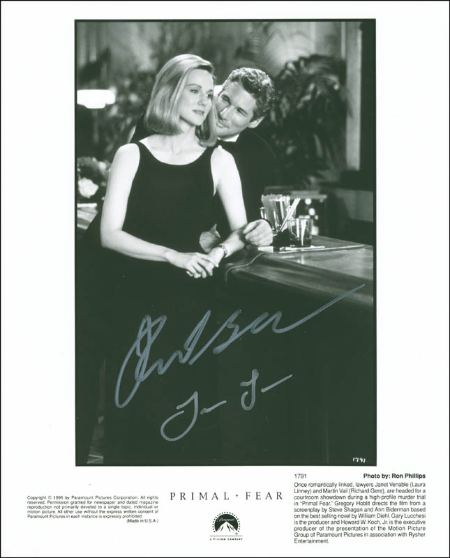Image 1 for Primal Fear Movie Cast - Autographed Signed Photograph co-signed by: Richard Gere, Laura Linney - HFSID 299948