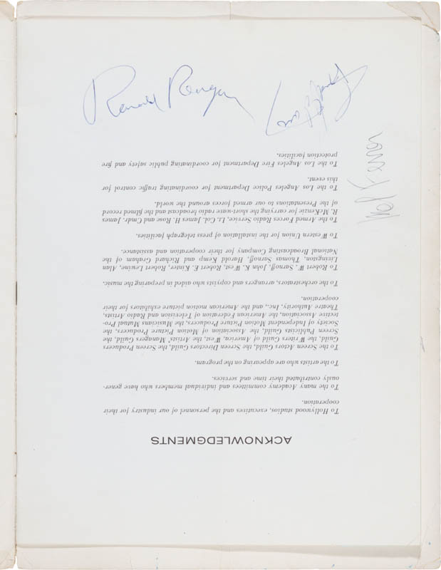Image 4 for President Ronald Reagan - Program Signed with co-signers - HFSID 300233