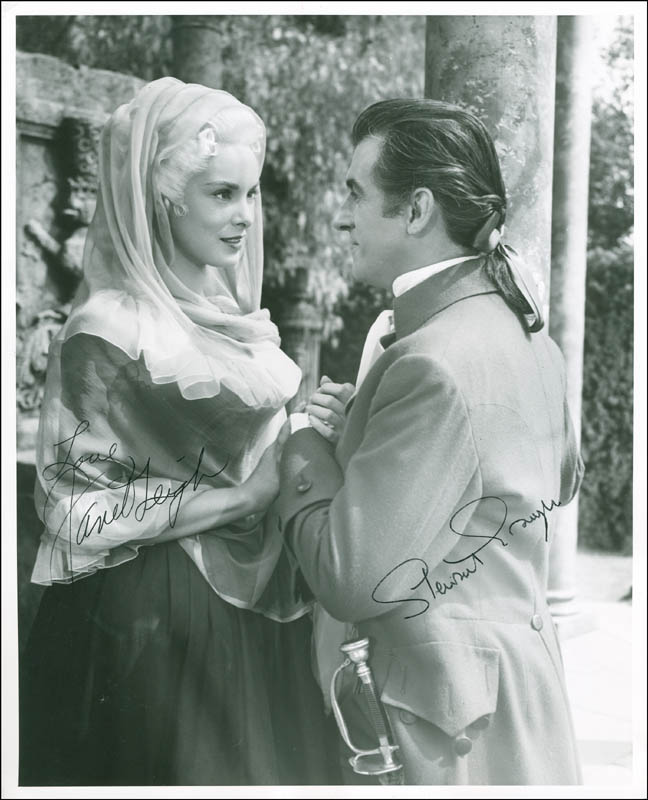 Image 1 for Scaramouche Movie Cast - Autographed Signed Photograph co-signed by: Stewart Granger, Janet Leigh - HFSID 300451