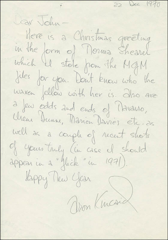 Image 1 for Aron Kincaid - Autograph Letter Signed 12/22/1970 - HFSID 300583