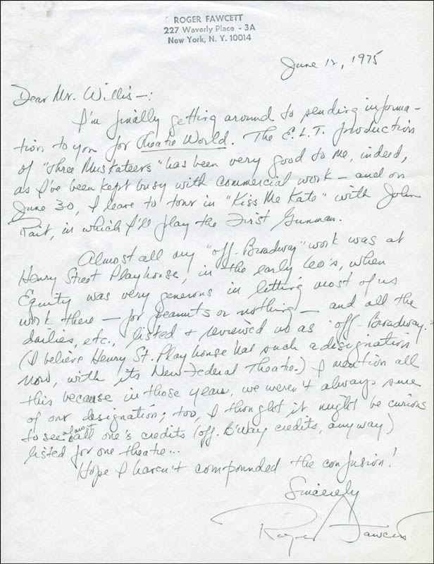 Image 1 for Roger Fawcett - Autograph Letter Signed 06/12/1975 - HFSID 300597