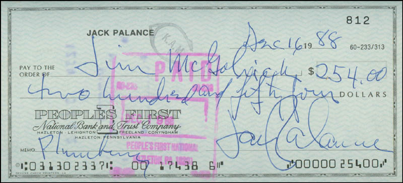 Image 1 for Jack Palance - Autographed Signed Check 12/16/1988 - HFSID 300826