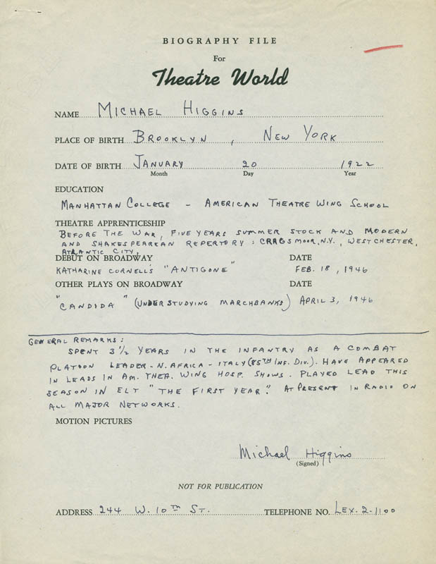 Image 1 for Michael Higgins - Autograph Resume Signed - HFSID 300958