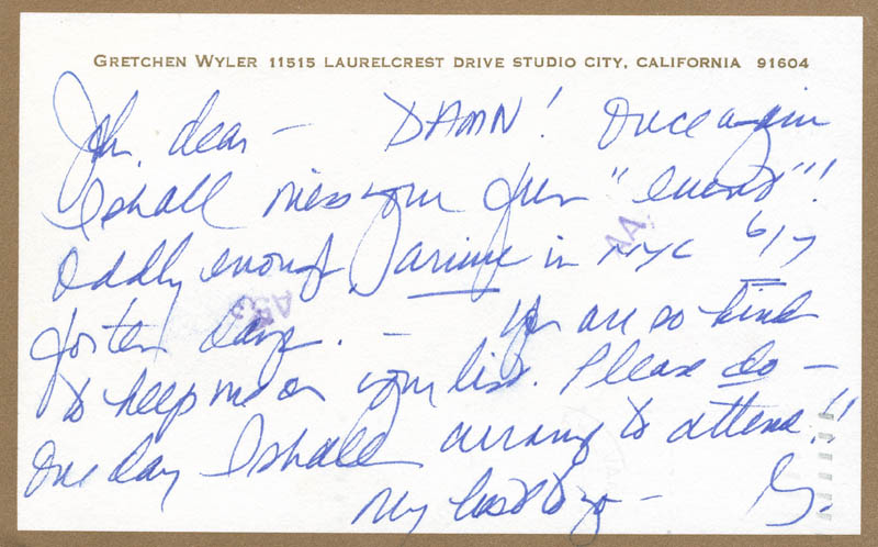 Image 1 for Gretchen Wyler - Autograph Letter Signed Circa 1985 - HFSID 300985
