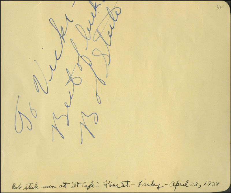 Image 1 for Bob Steele - Autograph Note Signed Circa 1938 co-signed by: Ken Niles - HFSID 301260