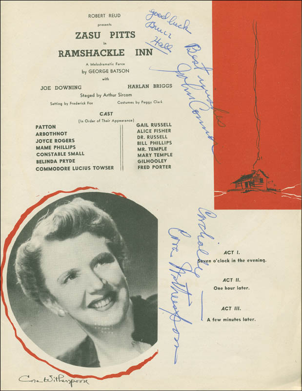 Image 3 for Ramshackle Inn Play Cast - Program Signed co-signed by: Zasu Pitts, Cora Witherspoon, Harlan Briggs, John Connor, Bruce Hall - HFSID 301303
