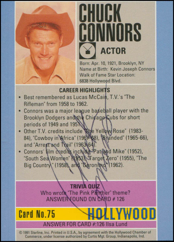 Image 1 for Chuck Connors - Trading/Sports Card Signed - HFSID 301346