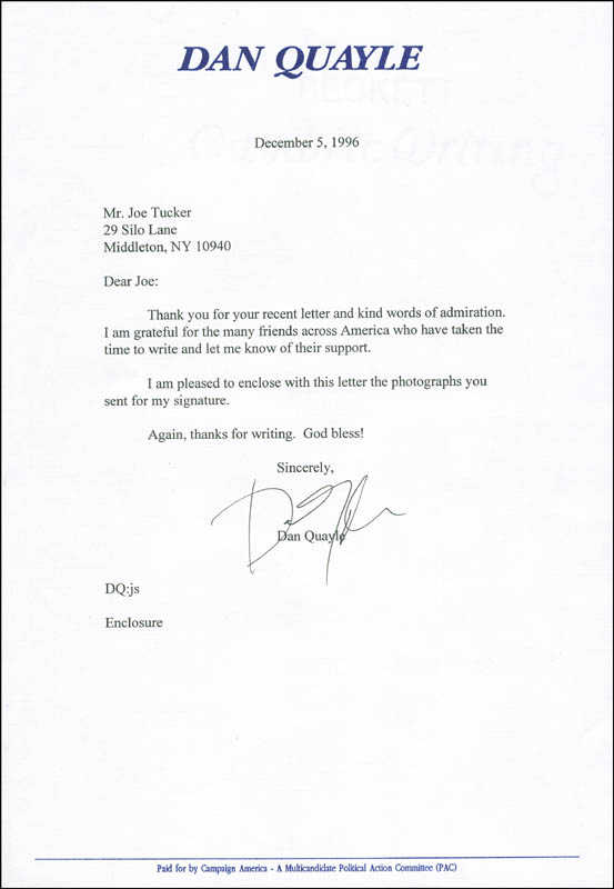 Image 1 for Vice President Dan (James Danforth) Quayle - Typed Letter Signed 12/05/1996 - HFSID 301400
